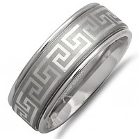 Mens Comfort Fit  8mm Greek Key Titanium Wedding Band (Choose Your Ring Size 8-12 1/2)
