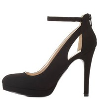 Black Cut-Out Ankle Strap Mini-Platform Pumps by Charlotte Russe