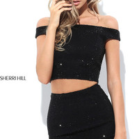 Two-Piece Off-the-Shoulder Beaded Homecoming Dress