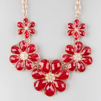 Full Tilt Facet Flower Statement Necklace Burgundy One Size For Women 22842532001
