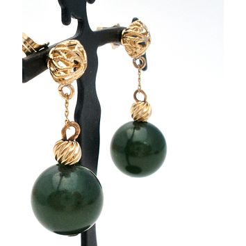 14K Gold Green Jade Dangle Earrings Vintage