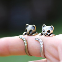 Retro Silver tone Kitty Cat Ring Swarovski Crystals Adjustable Free Size Open Wrap Ring Kitten Antique Gold Silver tone plated gift idea