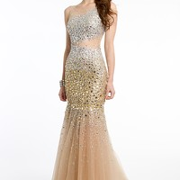 Mesh Trumpet Illusion Dress with Open Back from Camille La Vie and Group USA