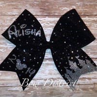 """3"""" Black Glitter Cheer Bow with Silver Glitter Castle, Name, and Year - Rhinestones additional fee"""