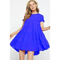 Ruffle Baby Doll Dress - Royal