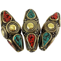 Tibetan Nepal Beads Red and Turquoise Pressed Stones 44 mm x 18 mm One Piece per Package