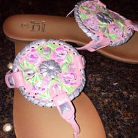 """Jack Rogers inspired """"georgica"""" style sandal with a Lilly Pulitzer like design"""