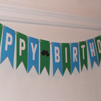 Happy Birthday Banner, blue and green banner, boys birthday party, party decorations, photo prop