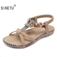 SIKETU Free Shipping 2017 New Folk Style Sandals Bohemia Diamond Shoes  Beach Shoes Women Shoes  Women Sandals Summer  527-2