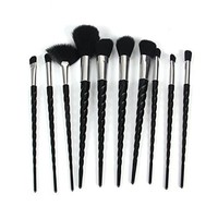 10Pcs Black Unicorn Make Up Brushes