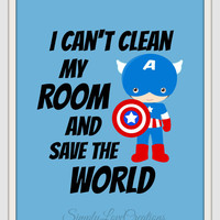 "Batman ""I can't clean my room and save the world"" Superhero Quote Art Print // Boys Room/Nursery 8 x 10"