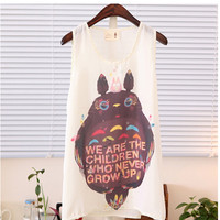 2017 New Arrivals Casual women T shirts Cartoon Funny Sunflower totoro Stripes Crown Printed slim t shirt
