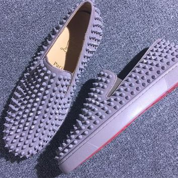 DCCK Christian Louboutin Slip On CL fashion casual shoes red sole for men and women jeans 9057