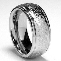 7MM Stainless Steel Ring With Engraved Florentine Design Size 6