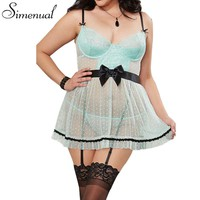 4XL Plus size lace erotic lingerie for women sexy hot backless slim mini dress porn maid cosplay cute porn babydolls transparent