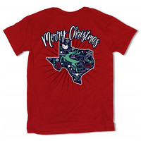 Southern Vine Merry Christmas Texas Deer Red Girlie Bright T-Shirt