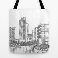 Clarence Dock Leeds Drawing Tote Bag by Karl Wilson Photography