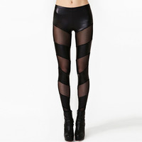 Black Cutout Mesh Faux Leather Pants