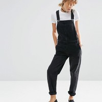 ASOS Denim Overalls in Washed Black at asos.com