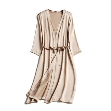 Silk Satin Knee length Night Robe