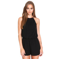 Playsuit Rompers Womens Clothing Overalls Sexy Summer Brand Casual Black Sleeveless Halter Keyhole Back Jumpsuit