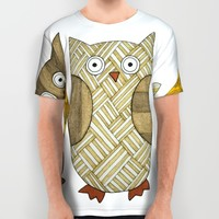 4 Gold Owls All Over Print Shirt by Erin Brie Art