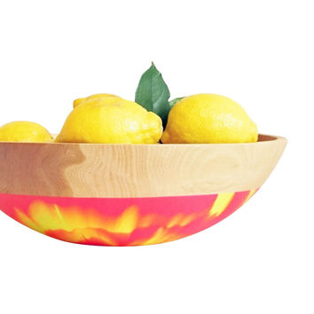 "Salad and Fruit Serving Bowl 15"" Large, Color Dipped BEECH Wood, Neon Swirl"