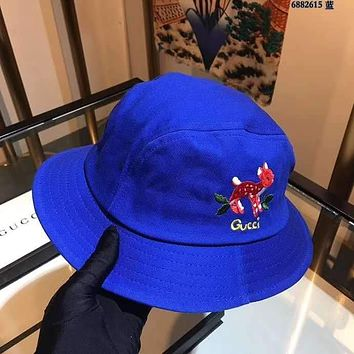 """Gucci"" Unisex All-match Simple Graffiti Embroidery Fawn Letter Printing  Baseball Cap Couple Peaked Cap Fisherman's Hat Sun Hat"