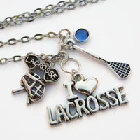 Perosnalized Lacrosse Necklace, Varsity Birthstone Jewelry, Sports Athletic Necklace, Choose Length, I Love Lacrosse, Lacrosse Mom Gift