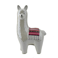 Ceramic Happy Llama Coin Bank, Pearl White, 8-1/4-Inch