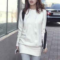 Casual thermal one-piece mini dress -ivory white