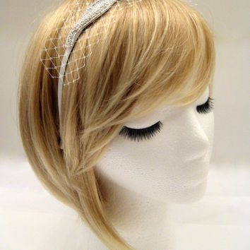 The Marilyn (headband) - Wedding headband with netting, rhinestone bridal headband veil, veil alternative, Hollywood glamour