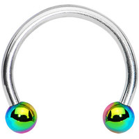 16 Gauge Rainbow Titanium Ball Horseshoe Circular Barbell 3/8"