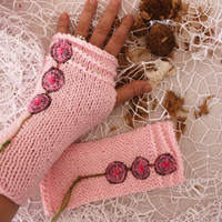 Pink gloves, Pink arm warmers, Pink fingerless, knitting arm warmers, Women's accessories, Pink wool fingerless, Christmas gift option