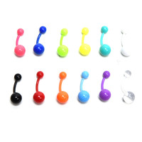 12Pcs Flexible Navel Bar Barbell Rings Mixed Belly Button Piercing Body Jewelry