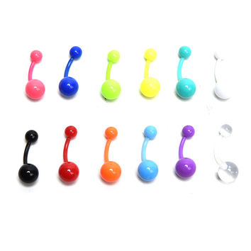 12Pcs Flexible Navel Bar Barbell Rings Mixed Belly Button Piercing Body Jewelry SM6