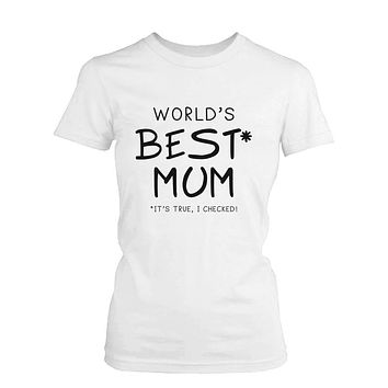 World's Best Mom White Cotton Graphic T-Shirt - Cute Mother's Day Gift Idea