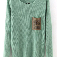 Green Graphic Print Pocket Knitted Sweater