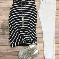 Knotted Stripe Tank Top: Navy