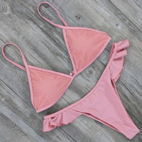 Pink Mesh Women Swimwear Bikini Set