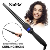 Professional Conical Curling Iron Ceramic Corrugation Hair Curler LCD Display Hair Waver Curling Wand Style Tools with Glove