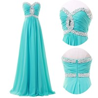 CHEAP Womens Chiffon Long Prom Dress Wedding Bridesmaid Formal Evening Ball Gown