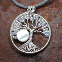 Small Wire Wrapped Tree of Life Pendant Silver and Crystal Full Moon Winter Tree Necklace Woodland Metaphysical By Lone Wolf Jewelry