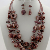 Brown Mother of Pearl jewelry set, necklace earrings set, brown jewelry, 3 strand necklace, brown pearl jewelry, shell necklace, wedding set