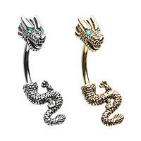 Golden & Silver Never Ending Dragon Belly Button Ring