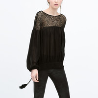 PUFFED SLEEVE COMBINED LACE SHIRT Lookbook