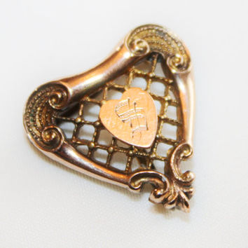 Victorian 10kt GF Watch Pin, Heart Watch Pin, Antique Monogrammed Brooch, 1920s Jewelry