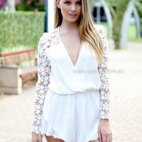 THE PUREST LOVE PLAYSUIT , DRESSES, TOPS, BOTTOMS, JACKETS & JUMPERS, ACCESSORIES, 50% OFF , PRE ORDER, NEW ARRIVALS, PLAYSUIT, COLOUR, GIFT VOUCHER,,White,LONG SLEEVES Australia, Queensland, Brisbane