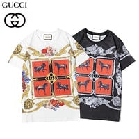 GUCCI 2020 new pattern printed loose round neck half-sleeved T-shirt