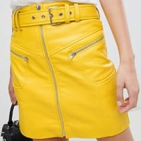 ASOS DESIGN Textured leather look mini skirt with belt and zip detail at asos.com